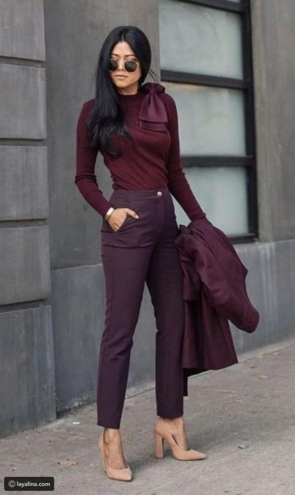 d241f15178915 مجلة زهرة السوسن - أزياء خريف 2018  إطلالات رسمية مستوحاة من الألوان الغامقة